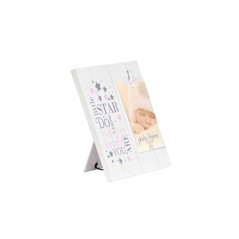 Dětský fotorámeček 10x15 s kolíčkem LITTLE STARS růžový