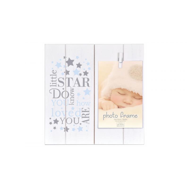 Dětský fotorámeček 10x15 s kolíčkem LITTLE STARS modrý