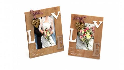 Svatební dřevěný fotorámeček s aplikací RAPTURE OF LOVE 13x18 cm natur