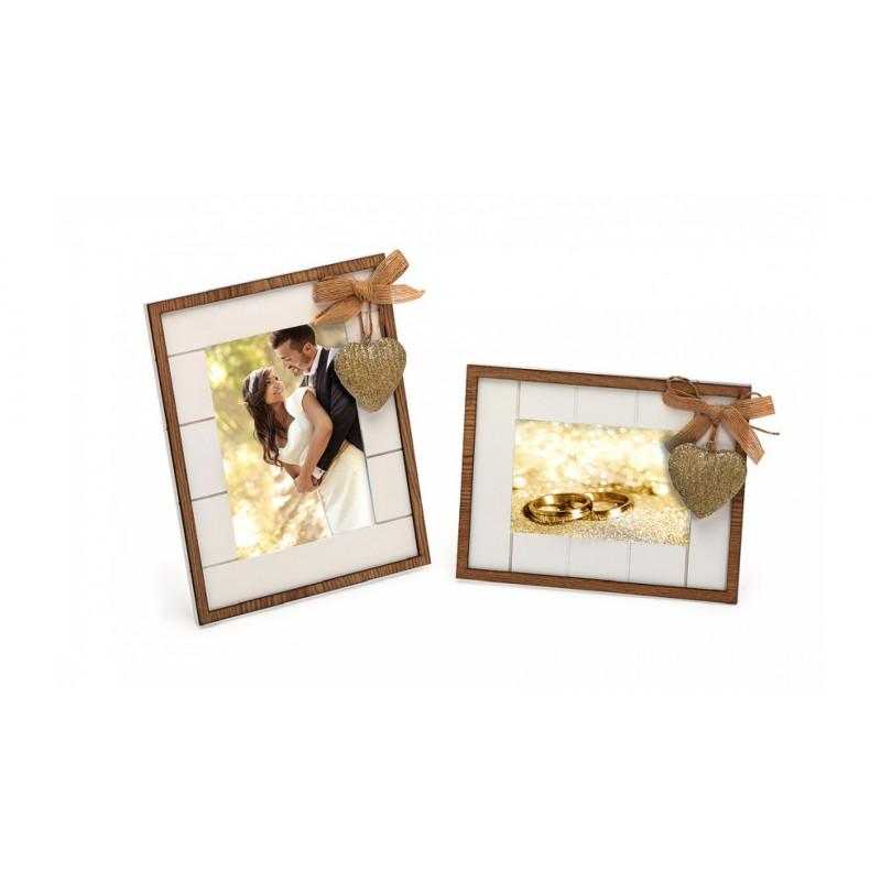 Svatební dřevěný fotorámeček s aplikací WE ARE TOGETHER 15x10 bílý