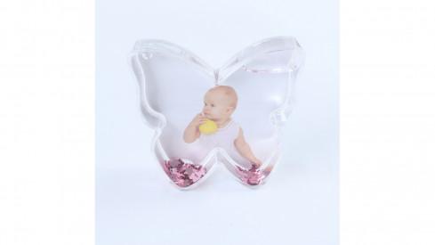 Plastové sněžítko motýl růžová