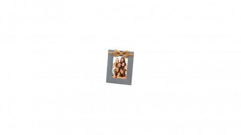 Dřevěný fotorámeček s aplikací na foto 10x15 NATURAL FEATURE šedý
