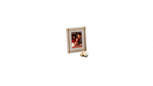 Dřevěný fotorámeček s aplikací na foto 10x15 NATURAL FEATURE natur