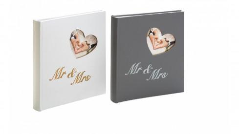 Svatební fotoalbum na růžky MR and MRS šedé