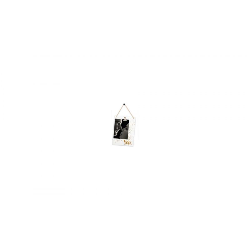 Dřevěný fotorámeček 10x15 YOU bílozlatý