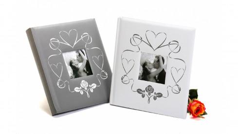 Svatební fotoalbum na růžky WEDDING TOUCH 29x32/60s. stříbrné