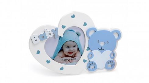 Dětský fotorámeček BABY BEAR´s HEART modrý