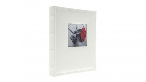 Samolepící kožené fotoalbum 24x29/40s. WHITE s výřezem na foto