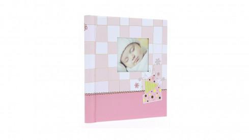 Dětské samolepící fotoalbum 22x28/60s. BABY CHECKER růžové