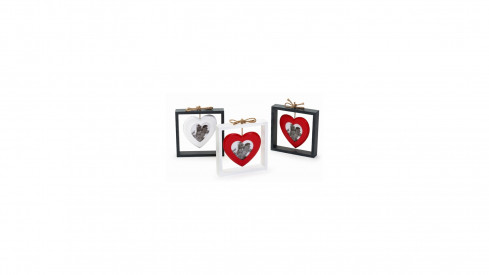 Dřevěná fotorámeček SWINGING HEART šedý červ. srdce