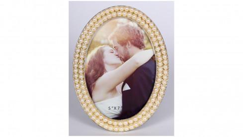Svatební perlový oválný fotorámeček 13x18 PEARL