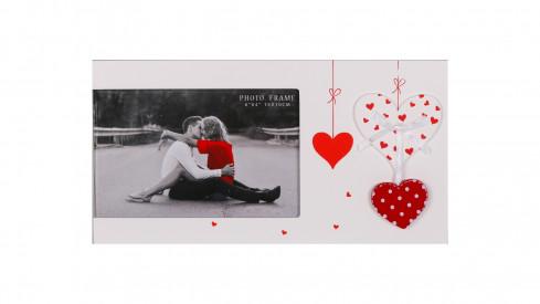 Svatební dřevěný fotorámeček s aplikací FIRST LOVE 15x10cm