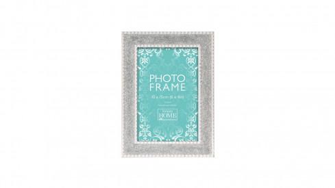 Bílo stříbrný fotorámeček s třpytkami 10x15