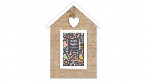 Dřevěný fotorámeček 10x15 Sweetheart Single s dřevěným srdíčkem