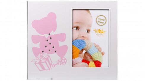 Kovový dětský fotorámeček 10x15 BABY TEDDY lll růžový