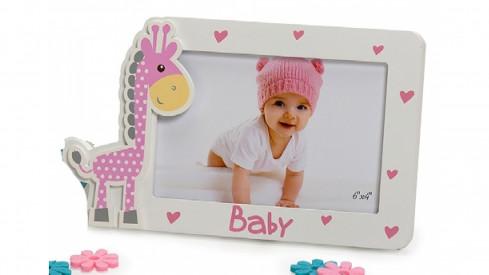 Dětský dřevěný fotorámeček 15x10 BABY GIRAFFE růžový