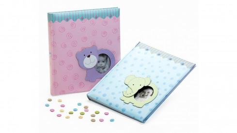 Dětské fotoalbum na růžky BABY ANIMALS 29x32/60  modré