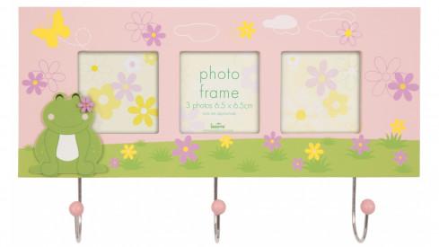 Fotorámeček/věšáček Cute frog na 3 foto růžový