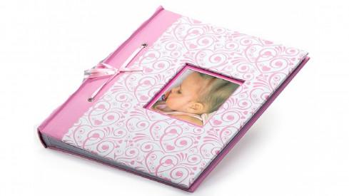 Dětské fotoalbum na růžky  BAMBINO 29x32/60 růžové