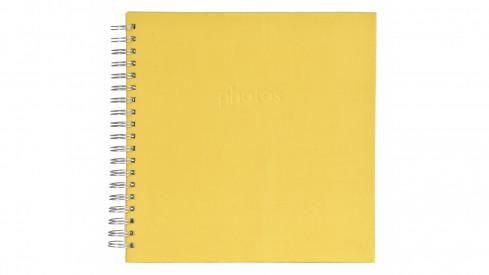 Spirálové fotoalbum LINEN Scrapbook 25x25/50 žluté